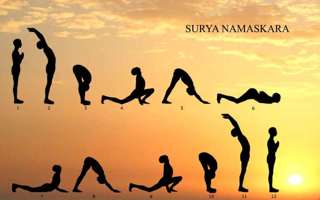 "Surya Namaskar (sun salutation) is a set of 12 specific yoga postures or ""asanas"""