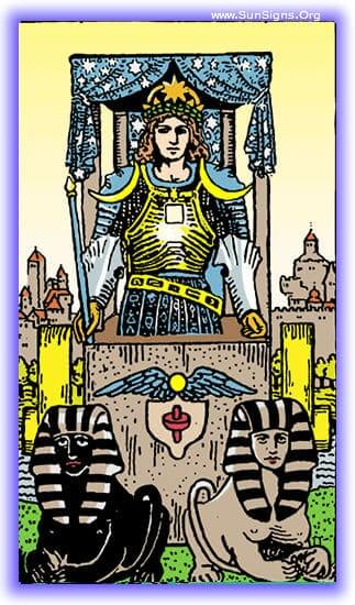 Ever moving forward, ever towards victory, that is what you have been doing, and that is what you have done. This is the influence of the tarot meditation on the Chariot card upright.