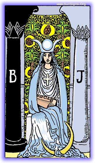 the High Priestess tarot card meditation means is quiet wisdom and observation.
