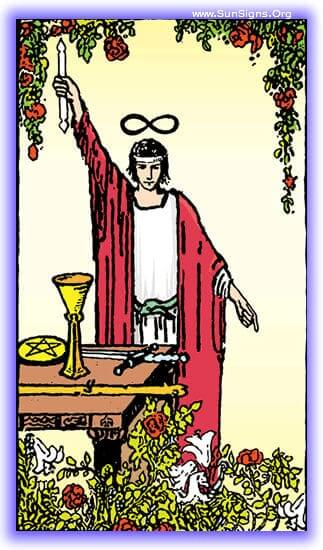 You will feel yourself fall into this Magician tarot card as your focus comes to fruition.