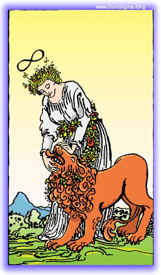 This tarot meditation using the Strength card upright will focus on confidence and power.
