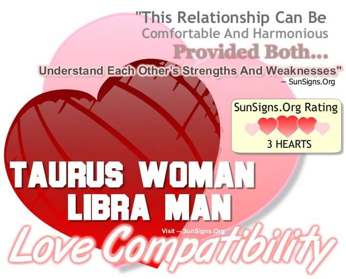 taurus woman libra man. This Relationship Can Be Comfortable And Harmonious Provided Both Understand Each Other's Strengths And Weaknesses.