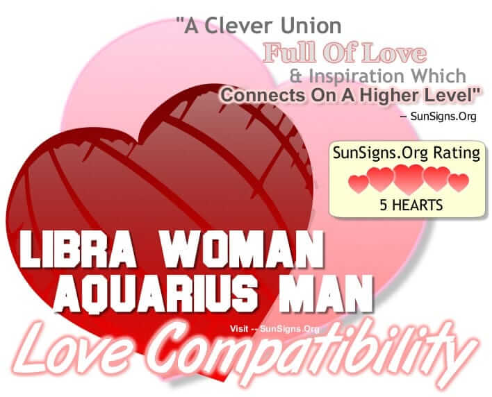 love match aquarius woman and libra man Aquarius and libra share the air-air chemistry, and if you wish to explore the aquarius woman and libra man compatibility, this article portrays the same here , you will get to really know them inside out and you will also experience the special astrological compatibility they share.