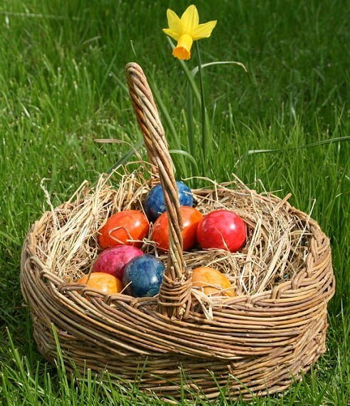 The Altar at this time of year is decorated with eggs and flowers, nests and images of the hare.