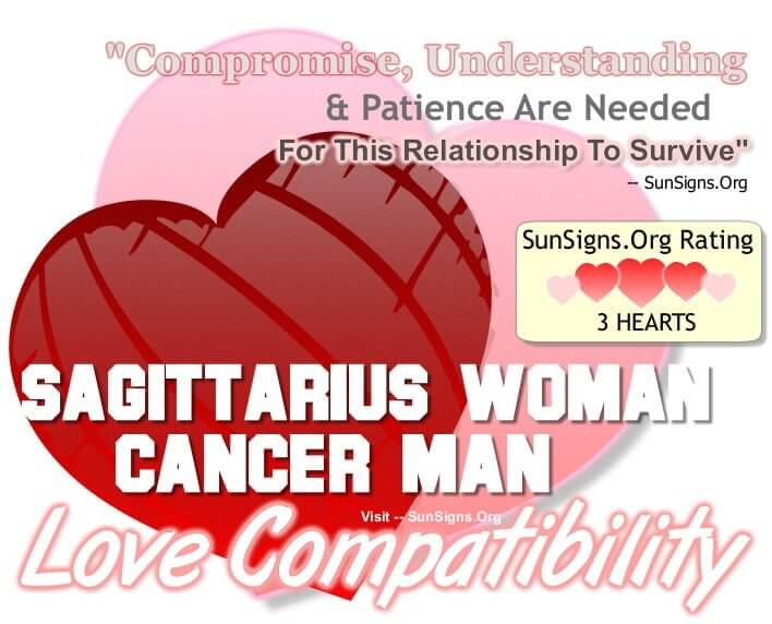 sagittarius woman cancer man