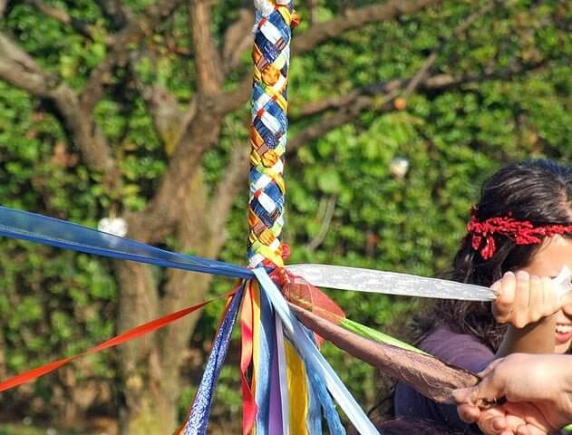 The maypole is a common sight in the Wicca Beltane festival