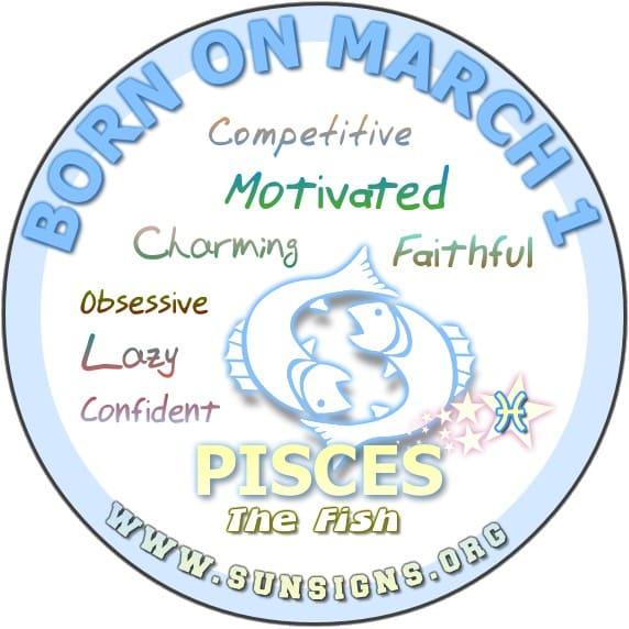 1 march birthday pisces