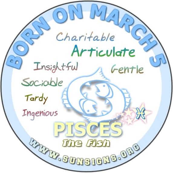 5 march birthday pisces