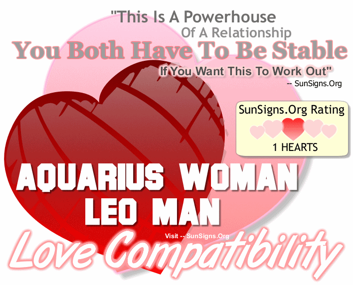 Aquarius Woman Leo Man Love Compatibility