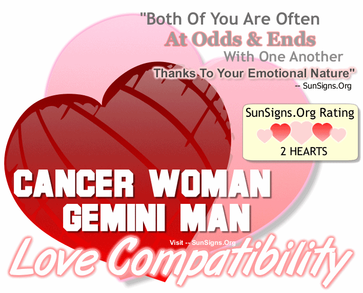Cancer Woman Gemini Man Love Compatibility