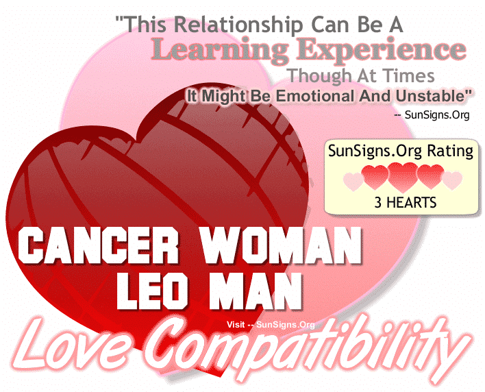 Cancer Woman Leo Man Love Compatibility
