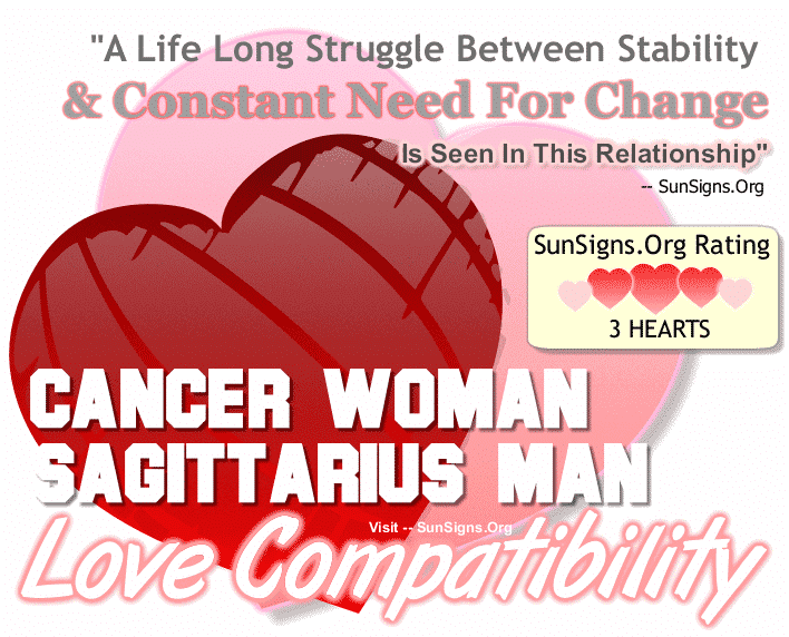 Cancer Woman Sagittarius Man Love Compatibility
