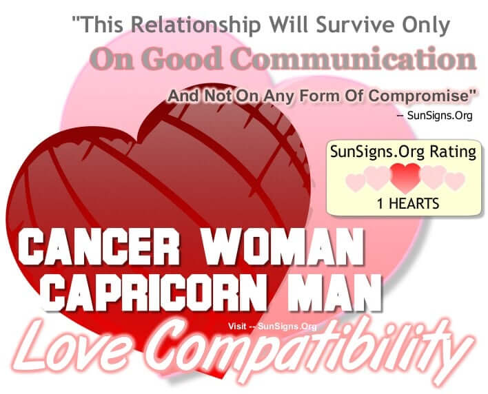 capricorn man and cancer woman dating Astrological compatibility and love match for capricorn woman & cancer man,capricorn man & cancer woman read how the stars influence your sexual life, sex, dating, relationship, and love.