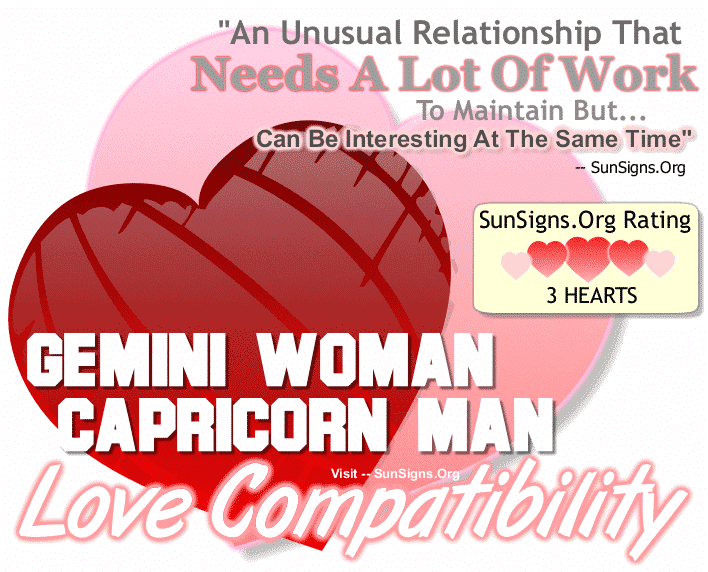 Gemini Woman Capricorn Man Love Compatibility