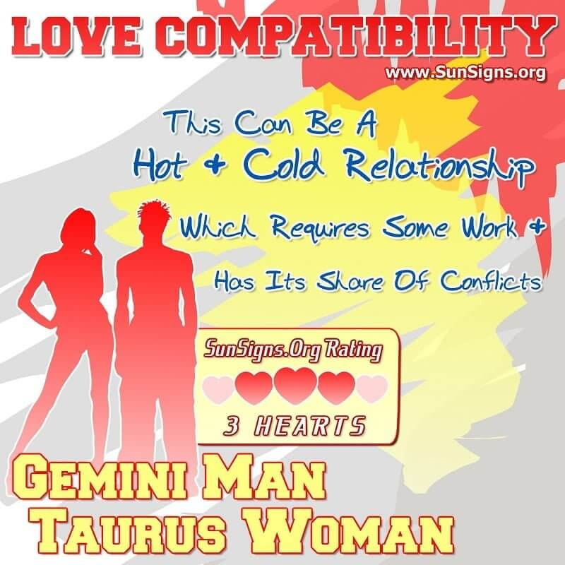 gemini man taurus woman love compatibility