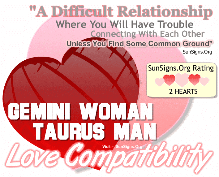 Gemini Woman Taurus Man Love Compatibility