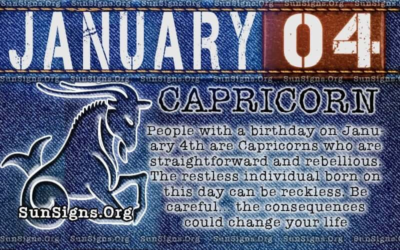 january 4 capricorn birthday calendar