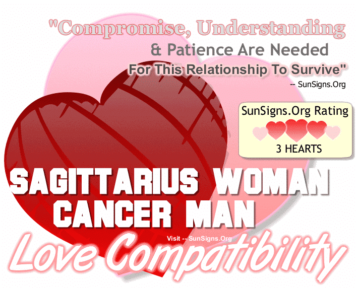 Sagittarius Woman Cancer Man Love Compatibility