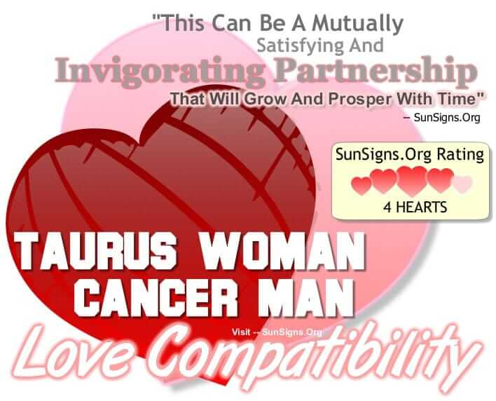 cancer woman dating a taurus man When thinking of dating a taurus man an out-going or flirtatious women is not the one this man is looking taurus is most compatible with virgo, cancer.
