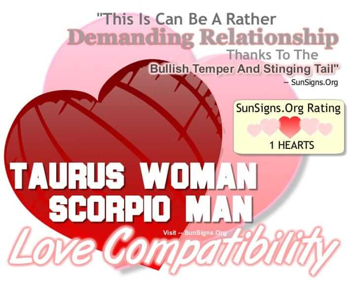 taurus woman scorpio man. This Is Can Be A Rather Heated Relationship Thanks To The Bullish Temper And Stinging Tail Of The Couple.