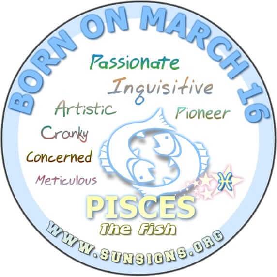 16 march birthday pisces