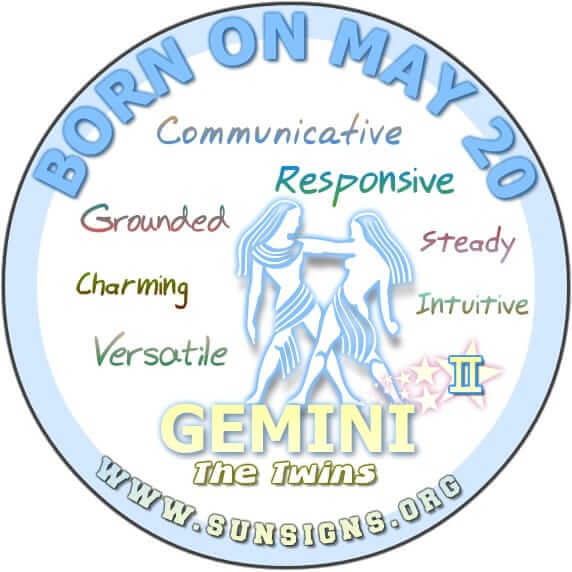 IF YOU ARE BORN ON May 20, you are a Gemini who is blessed with a whole lot of loving kindness.