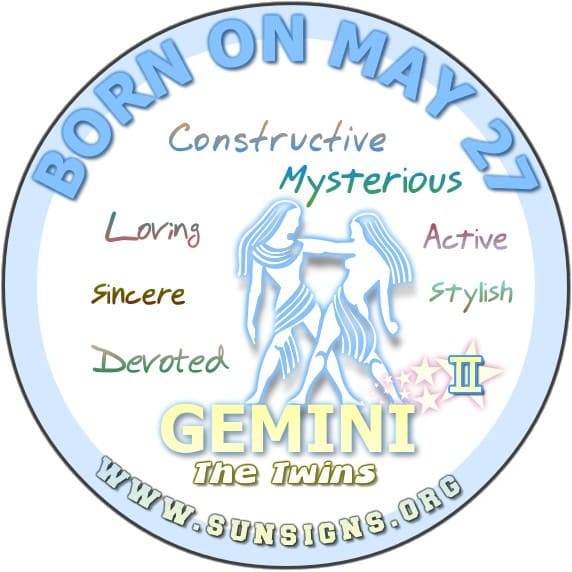 IF YOU ARE BORN ON May 27, the Gemini birthday meanings predict you know how to redesign yourselves.