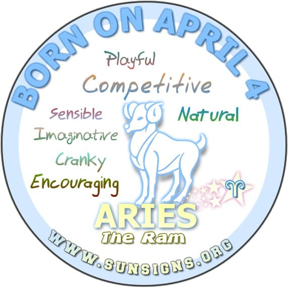 IF YOU ARE BORN ON April 4, you are the most sensible and down to earth Arian