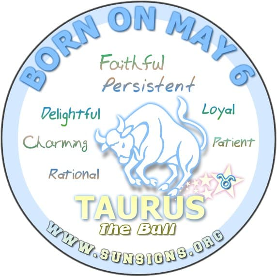 IF YOUR BIRTH DATE IS May 6, the birthday analysis for Taurus born on this day predicts that you are delightful, kind but fiery bulls.