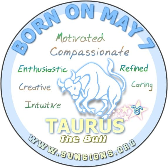 IF YOU ARE BORN ON May 7, your birthday meanings show that this Taurus is more realistic and approachable than other bulls.