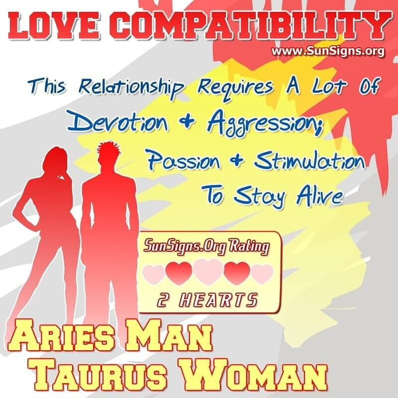 love match between taurus woman and aries man Taurus and aries: taurus woman and aries man the taurus woman is ruled by venus and the aries man is ruled by mars so you know when these signs get together they already have wonderful potential in a love match.