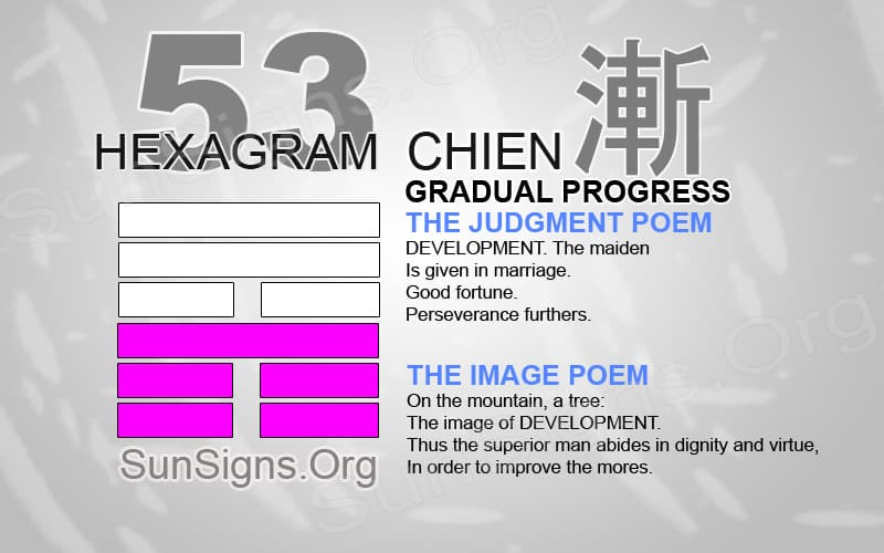 "Interpretation & Meaning of IChing Hexagram 53: 漸 ""Gradual Progress"" - Chien"