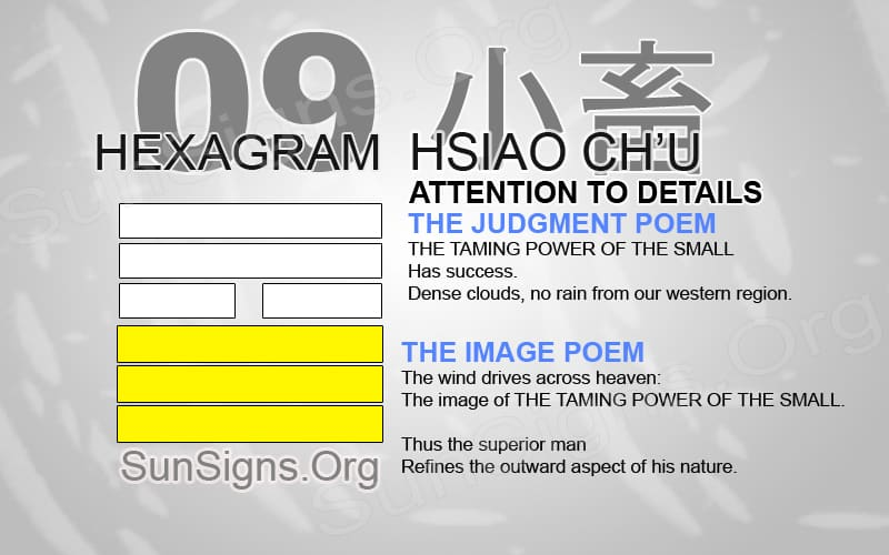 "Interpretation & Meaning of IChing Hexagram 9: 小畜 ""Attention To Detail"" - Hsiao Ch'u"
