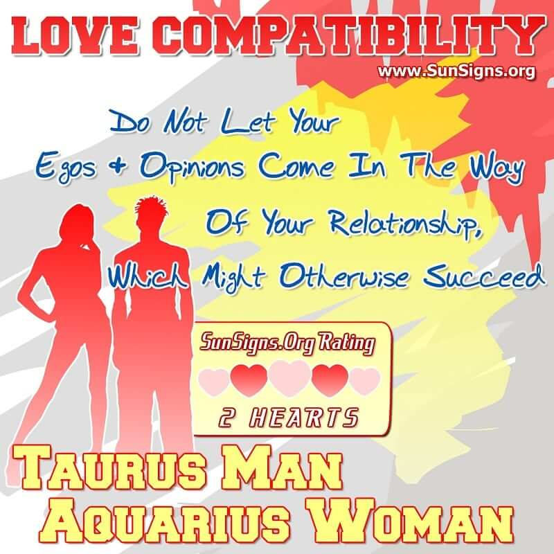 taurus man aquarius woman love compatibility