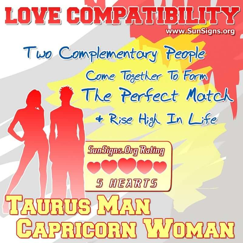 taurus man capricorn woman love compatibility