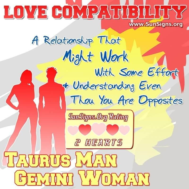 taurus man gemini woman love compatibility A Relationship That Might Work With Some Effort And Understanding Even Though You Are Opposites