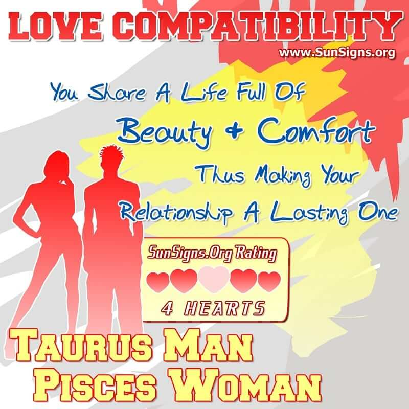 taurus man pisces woman love compatibility