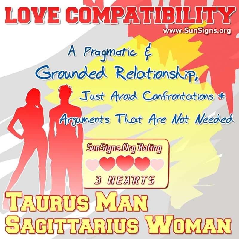 taurus man sagittarius woman love compatibility