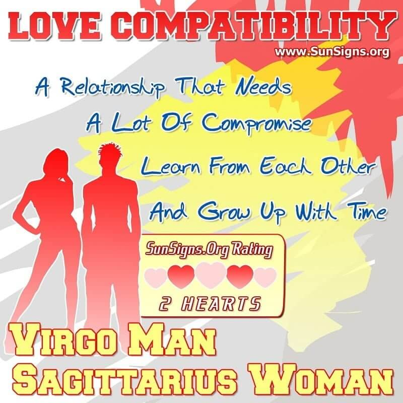virgo man dating sagittarius woman For the virgo man and the sagittarius woman, a relationship is a partnership of equals who genuinely like and respect each other that's always a good basis for any relationship, but can this couple learn to adapt to their very different personalities.