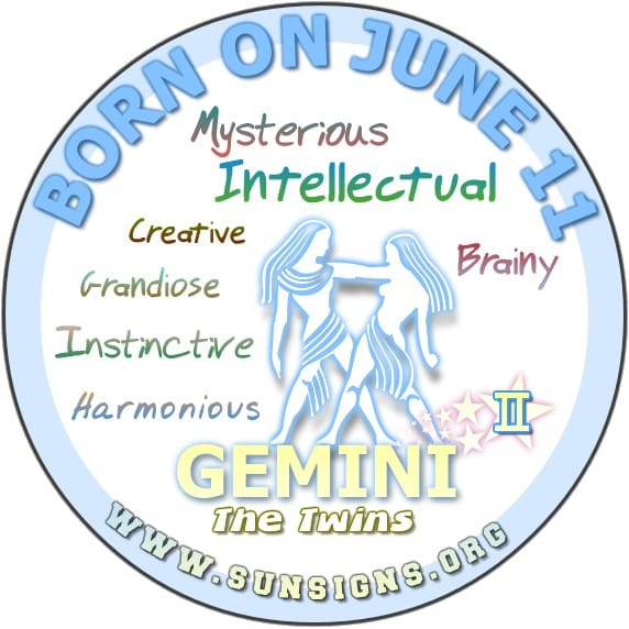 IF YOUR BIRTHDAY IS JUNE 11, your zodiac sign is Gemini and you are powerful intellectuals.