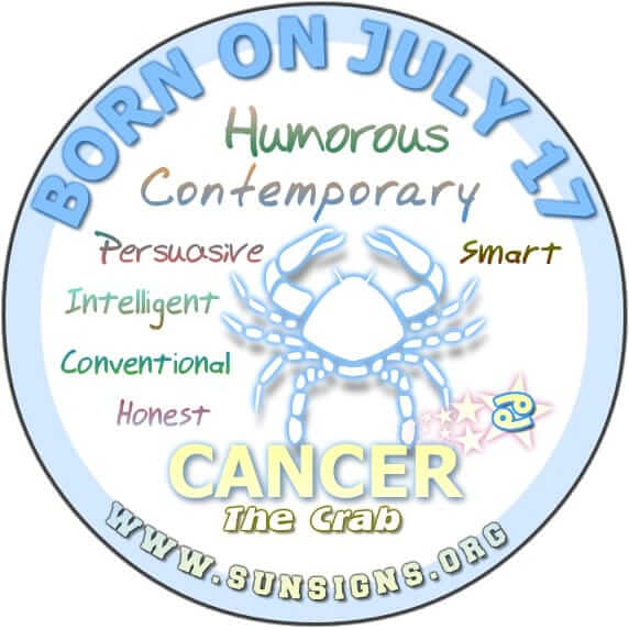 IF YOUR BIRTHDAY IS JULY 17, the Cancer Birthday Analysis reports that you are all-around intelligent people.