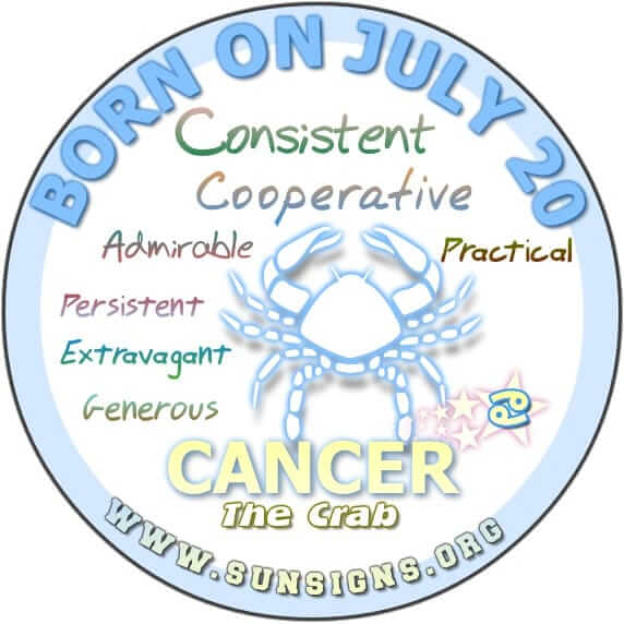 IF YOU ARE BORN ON JULY 20, the Cancer Birthday Analysis predicts that you can be a person who is lavish, generous, and highly cooperative.
