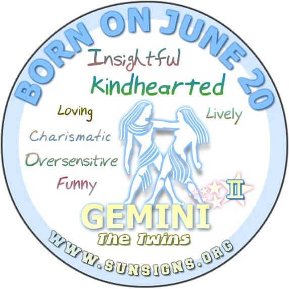 IF YOUR BIRTH DATE IS JUNE 20, the Gemini Birthday Analysis shows that people born explicitly on this day are said to be funny, kindhearted and lively.