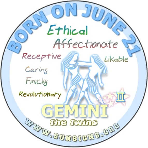 The zodiac sign for June 21st birthdate is Gemini.