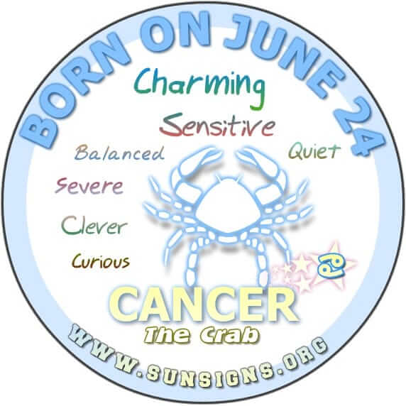 IF YOU ARE BORN ON THIS DAY JUNE 24, the Cancer birthday astrology predicts that you are in possession of a quiet but unmistakable charm.