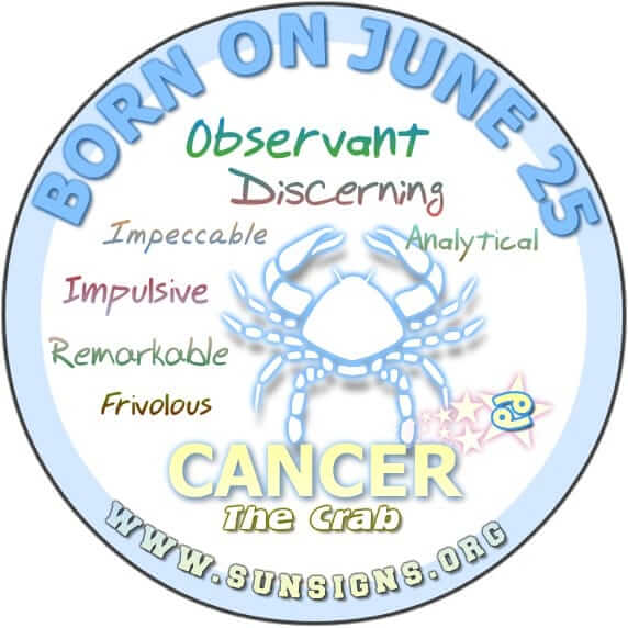 IF YOUR BIRTHDAY IS ON JUNE 25, then you are Cancer zodiac sign individuals who can sense when something is wrong.