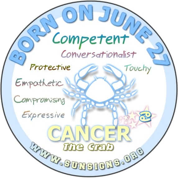 IF YOUR BIRTHDATE IS JUNE 27, the Cancer Birthday Analysis reports that you are a competent communicator