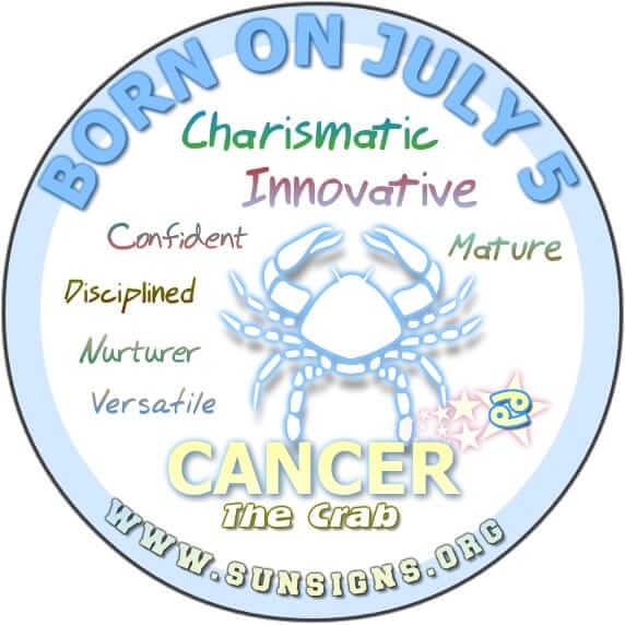 IF YOUR BIRTHDAY IS July 5, your sun sign is Cancer.