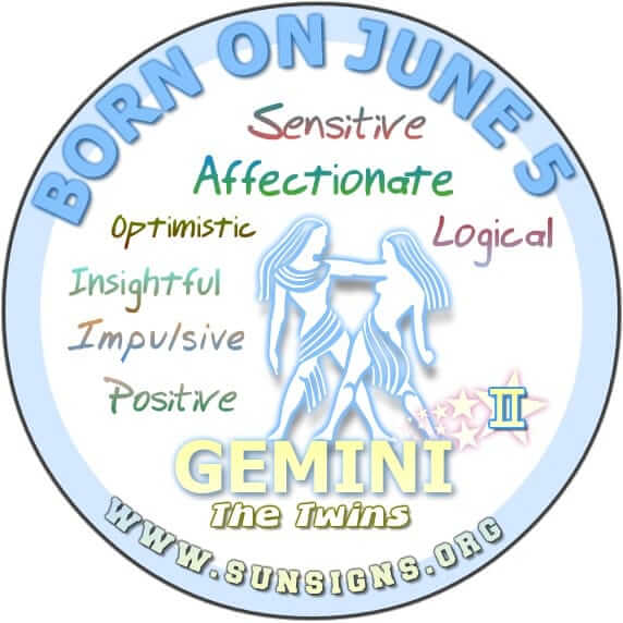 If you are a GEMINI BORN ON THIS DAY, June 5, you can be naive and very optimistic