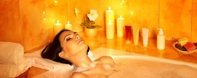 Get into the bath and lose yourself in meditation.